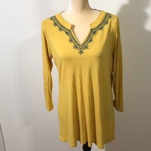 Embroidered Mustard Tunic